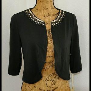 SANDIVA•Black • rhinestone neckline • Dazzling•NWT